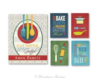 Personalized Kitchen Art Prints Eat Drink and Be Grateful, Utensils, Pots, Pans, Word Prints - Set of (5) 5 x 7's, 11 x 14 // Modern Kitchen