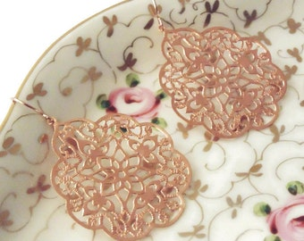 Rose gold earrings Rose gold dangle earrings Rose gold drop earrings Rose gold bridal earrings Bridesmaid earrings Rose gold jewelry