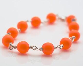 Neon Orange Bracelet With Sterling Silver Wire