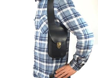 Leather shoulder holster bag - holster bag Made in FRANCE