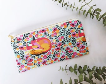 Fox Zipper Pouch | Pencil Pouch | Make-up Bag | Diaper Bag Pouch | Tula Pink Chipper Fox Nap | Woman | Teen Girl Gift