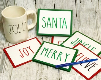 Rae Dunn Inspired Christmas Cards | Jingle Cheer Believe Santa Merry Joy Cards  |  Rae Dunn Inspired Holiday Card Set