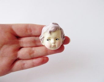 Dottie's Doll Face Brooch Timothy - Paperclay Antique Doll Pin