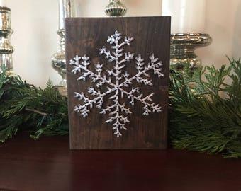 Simple Snowflake String Art Block | Made to Order