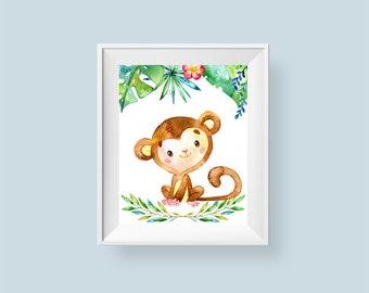 Baby Monkey Print, Jungle Nursery Print, Safari Printable Wall Art, Baby Room Decor Leaves Flowers 8x10 Instant Digital Download