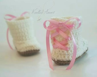 Crocheted booties, ugg boots, baby girl, baby girl boots,photo prop, newborn, baby shower gift, infant shoes, announcement