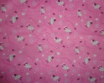 1.5 Yards Pink Ladybug Heart Hello Kitty Cotton Fabric