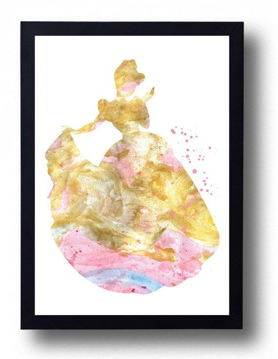 Cinderella Watercolor Print Disney Princess Cinderella gold