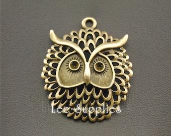 5pcs Antique Bronze Alloy Filigree Owl Charms Pendant A1296