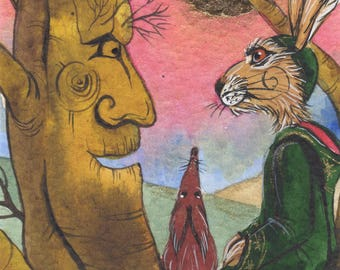 Griffling with the trees - Matlock the Hare - Whimsical magical signed archival art print.