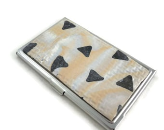 Unique business card case polymer clay designs gray triangles