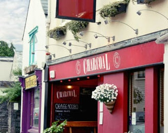 Ireland Photography street restaurant purple pink Kenmare Irish town steak house white