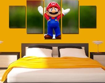 Delicieux Super Mario Canvas Art Mario Poster Mario Print 5 Panel Home Art Wall Decor  Wall Art