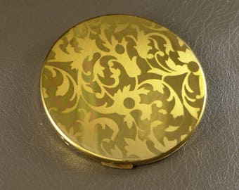 Elgin American Compact, Vintage Elgin American Mirrored Powder Compact With Etched Design, Gold Tone Mirrored Comact
