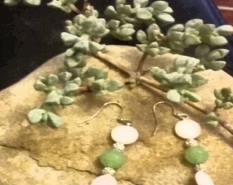 Earrings~Dangle~Drop~Shell White & Lime Green Silver Tone~Holiday Gifts~Christmas