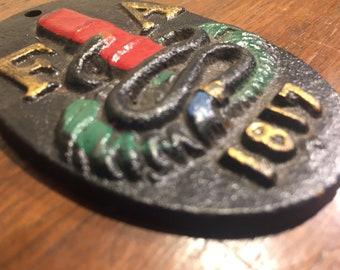 FA 1817 - Fire Association of Philadelphia Fire Mark, Fire Mark Historic Memorabilia, Firefighter, Insurance, Cast Iron, Miniature, 3x2-inch