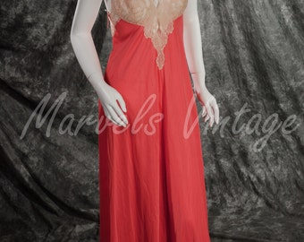 "Vintage Glydons of Hollywood Nightgown Lingerie Tangerine ""Flame"" with Ecru Lace Size Small NOS with Tags"