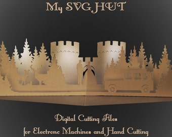 3D SVG PDF Pop up card Castle Wedding DIGITAL download