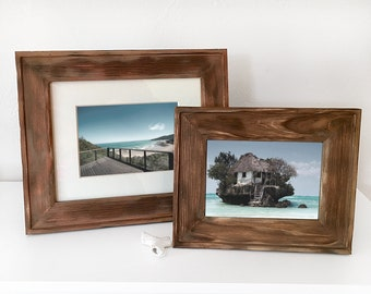 Wood Picture Frame Brown Farm Style Nautical Beach Decor, by SEASTYLE