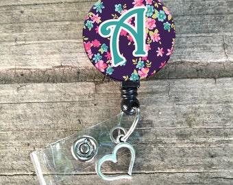 Initial badge reel, floral, custom, lanyard
