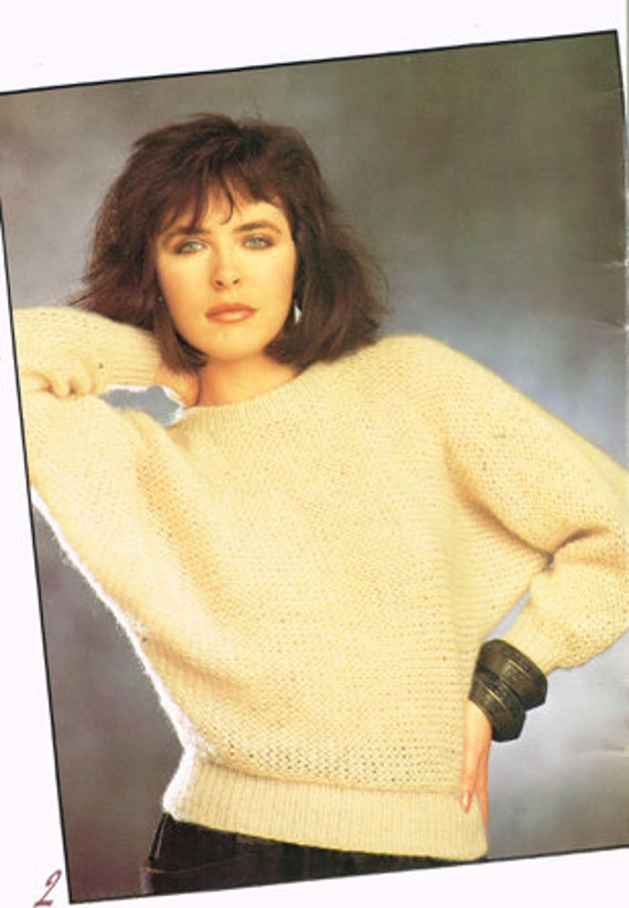 Vintage Knitting Pattern - Women\'s Ladies Sweater or Pullover - 80\'s ...