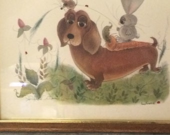 1963 George Buckett Framed Print   Dashchund dog with friends.