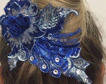 royal blue flower and applique hair clip