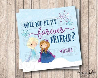 Personalized Printable Frozen Valentine Tags, Printable Best Friends Valentine Tags