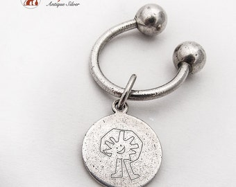 Tiffany Co Key Ring Round Engraved Charm Sterling Silver 1980