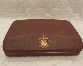Vintage Mens Shields Box or Valet Leatherette outside finish not perfect SALE