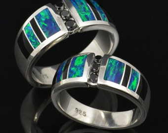 His and Her Lab Created Opal Wedding Ring Set with Black Diamonds and Black Onyx Accents