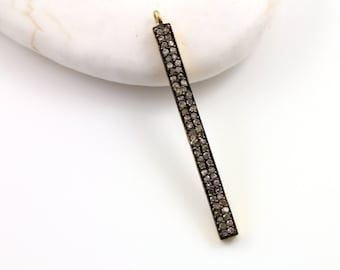 Pave Diamond Pendant, Pave Bar Pendant, Diamond Bar Charm, Pave Bar Necklace, Pave Connector, Gold Plated over Silver.  (DCH/CR144)