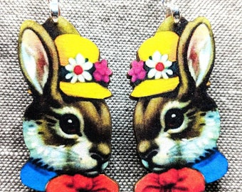 Bunny Earrings / Rabbit Earrings / Lucky Earrings / Animal Earrings / Easter Bunny Earrings / Easter Earrings / Kitsch Earrings