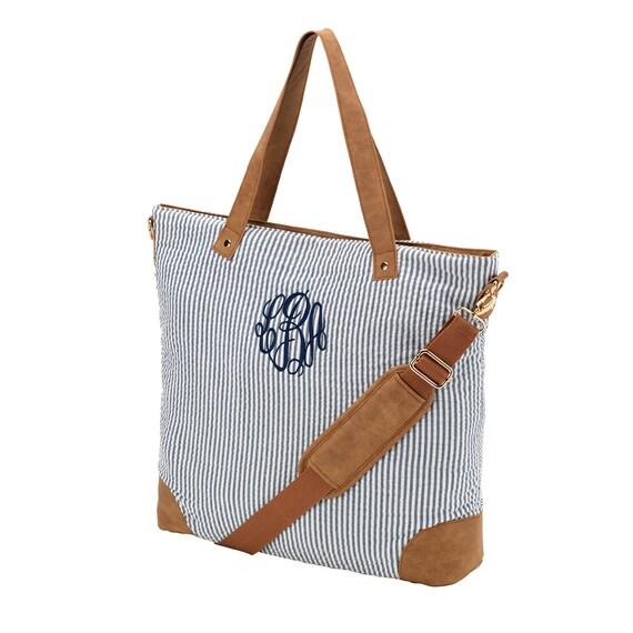 FREE MONOGRAM, Navy Seersucker Shoulder Bag, Travel Essencial Bags, Weekender Bag.