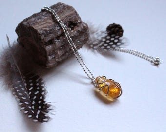 Necklace silver and citrine with leaves