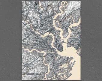 Charleston Map Print, Black and White Art, Vintage Inspired, South Carolina