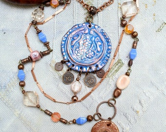Long boho necklace, 2 polymer pendants, 3 rows, charms and tassels, rosary copper chain, salmon-blue, boho jewelry, OOAK, UNIQUE creation