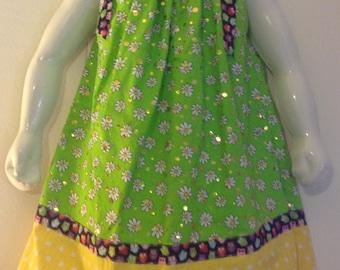 Little girl pillowcase dress, 2T pillowcase dress, springtime/summer little girl dress, sparkle little girl dress