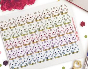 Savings Jar Planner Stickers   Erin Condren   Kikki K   Filofax    Money   Piggy Bank   No Spend   ECLP