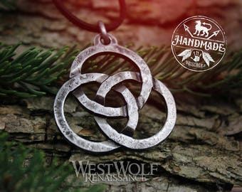 Hand-Forged Celtic Triquetra Circles Pendant - Forces of Nature -- Viking/Norse/Medieval/Rings/Necklace/Jewelry