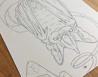 ORIGINAL INK DRAWING / Crystal Bat / from the skullgarden coloring book