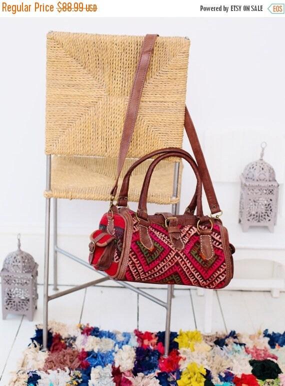 Moroccan Pink Kilim Leather Satchel Cross Shoulder Straps Berber style-bag, tote, handbag, purse