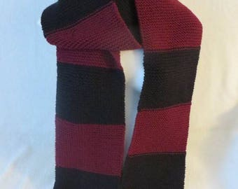 Extra Big Scarf, Striped Scarf, Black and Burgundy Scarf, Men's Scarf, Women's Scarf, 93 inches