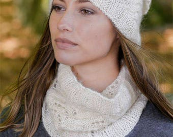 Fuzzy, cable, lace hat and neck warmer