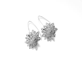 Lotus Flower Earrings in Silver, Eco Friendly, Flower Dangle Earrings, Flower Earrings, Flower Jewelry, Statement Earrings, Recycled Jewelry