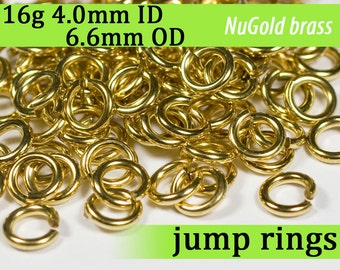 16g 4.0mm ID 6.6mm OD NuGold brass jump rings -- 16g4.00 open jumprings