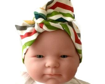 Organic headband, baby bow headband, baby girl headband, newborn headband, headwrap for baby, baby knot headband, chevron bow headband