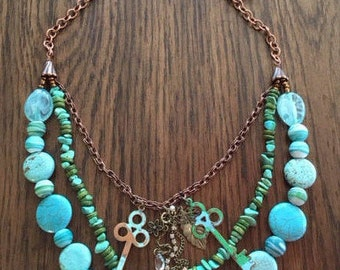 Beaded aqua/turquoise necklace, copper chain, charms, pendant, keys, glass beads, boho necklace, multi-strand necklace, birthday gift, wife