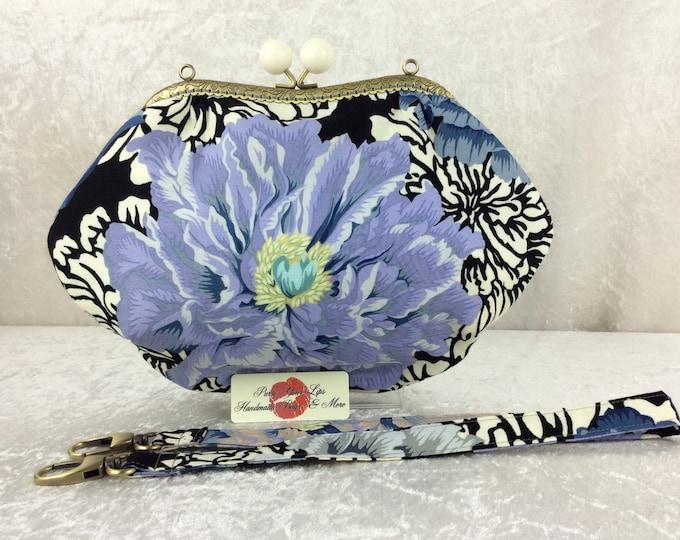 Peony Fabric purse bag frame handbag fabric clutch shoulder bag frame purse kiss clasp bag Handmade Alexander Henry Brocade Peony