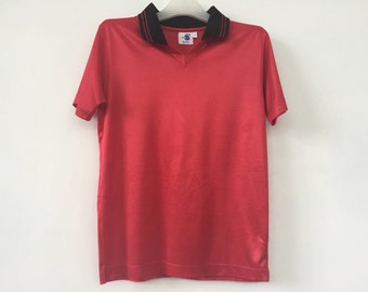 High 5 Sportswear Jersey V Neck Red TShirt Women Vintage T Shirt Size L Made in USA
